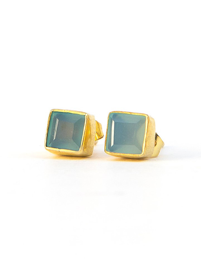 Crystal Waters Studs - Chalcedony