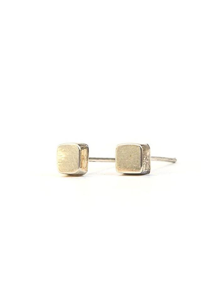 Little square sterling silver stud earrings | Fair Anita