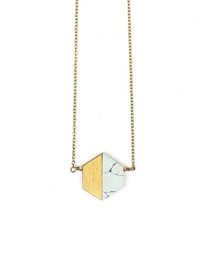 Short hexagon blue necklace | Fair Anita