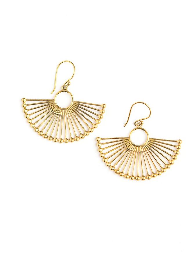 Gold fan fair trade earrings   Fair Anita