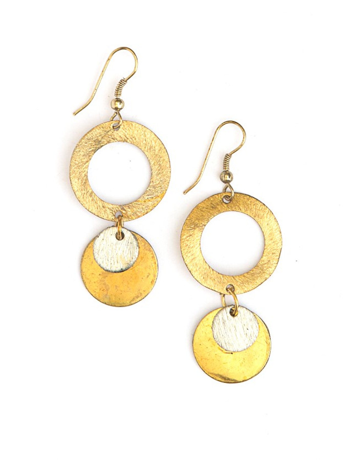 Lilypad Earrings - Mixed Metals