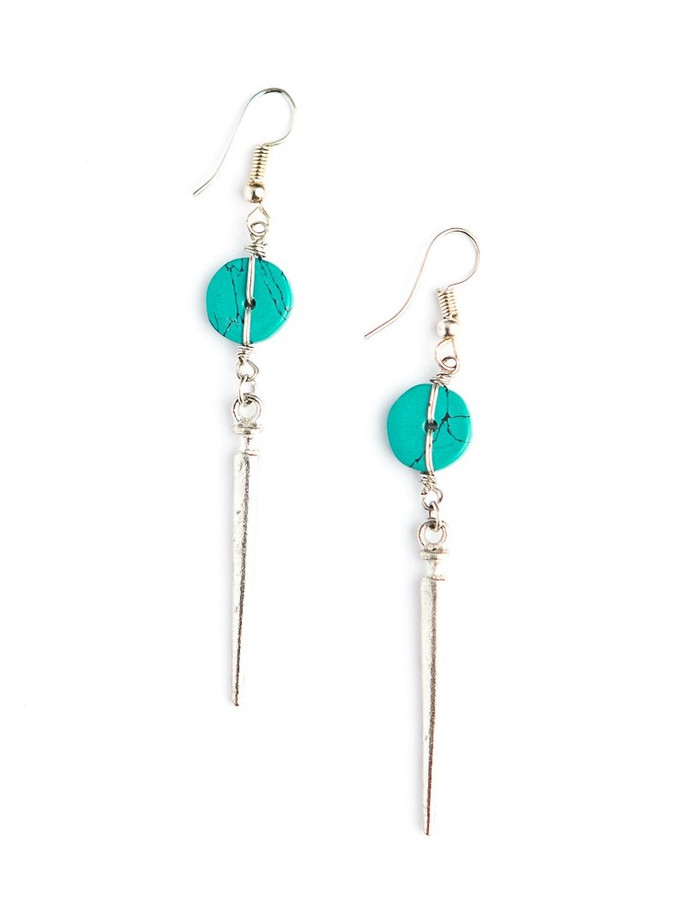 Silver and turquoise dangle earrings | Fair Anita