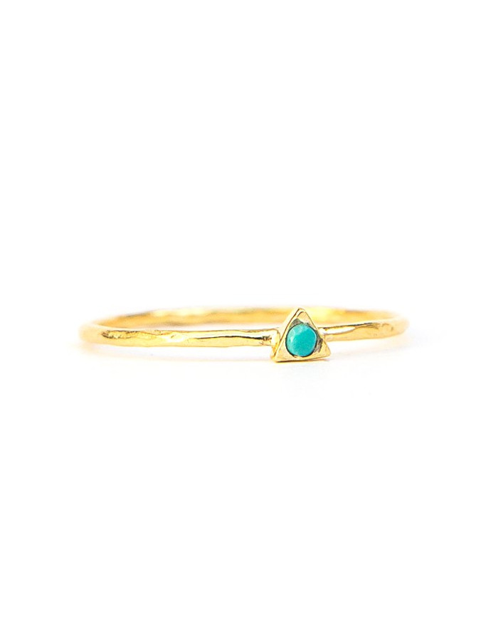 Tiny Triangle Gold Ring - Turquoise