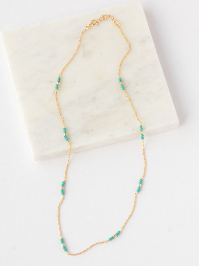 Delicate Turquoise Gold Necklace