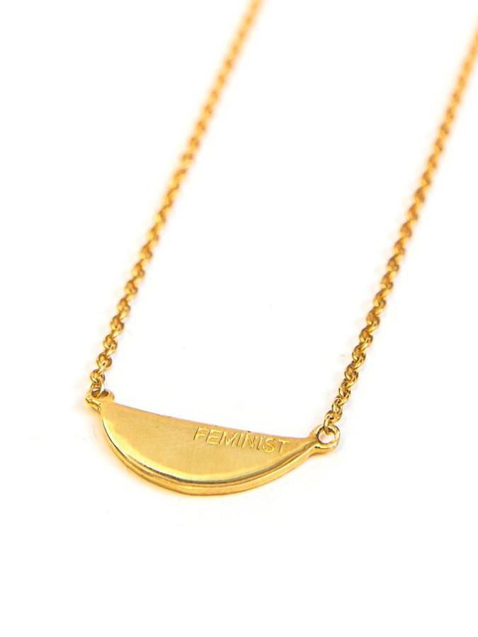 Feminist quote necklace in gold   Fair Anita