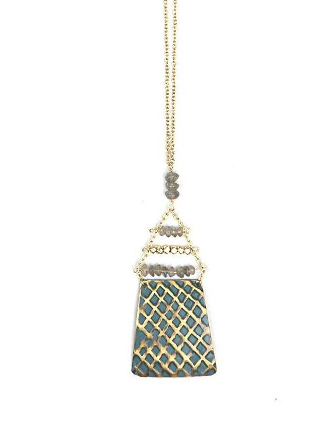Blue painted brass fair trade necklace | Fair Anita