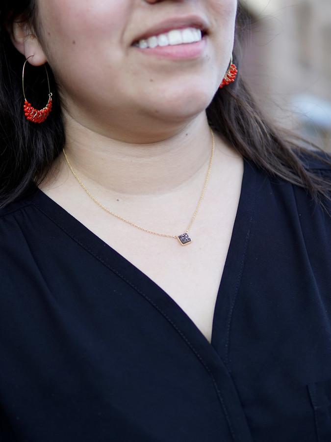 Short druzzy stone necklace | Fair Anita