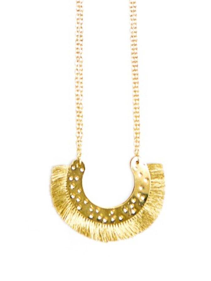 Golden Arc Fringed Necklace