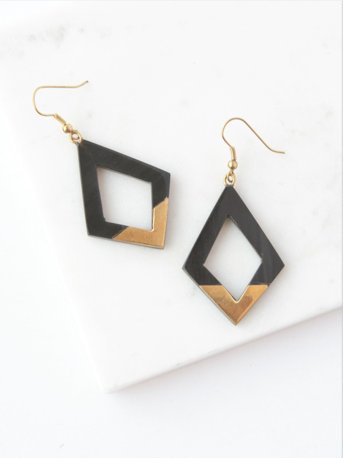 diamond  upcycled horn earrings with gold plate on the bottom half. Fair Anita
