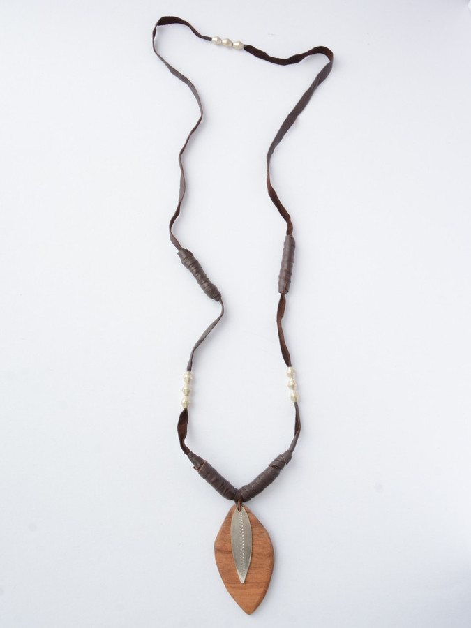 Wood and Leather Leaf Necklace | Fair Anita