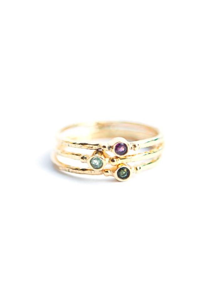 Tiny Stone Gold Stacking Ring Set - Tourmaline