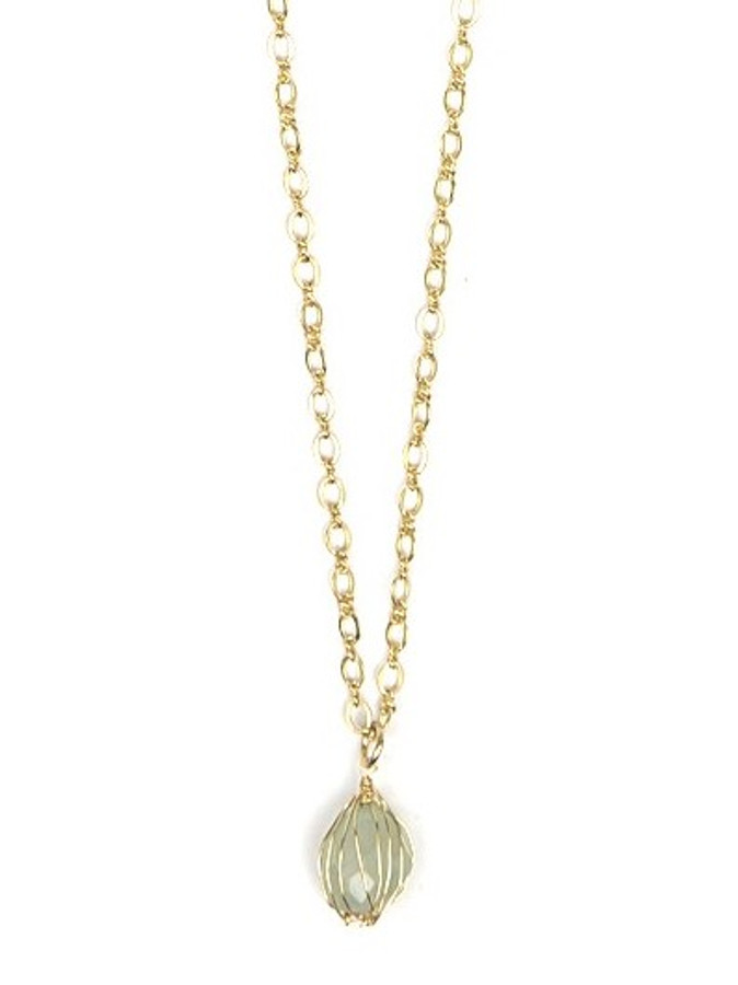Teal Wrap Stone Necklace - Brass