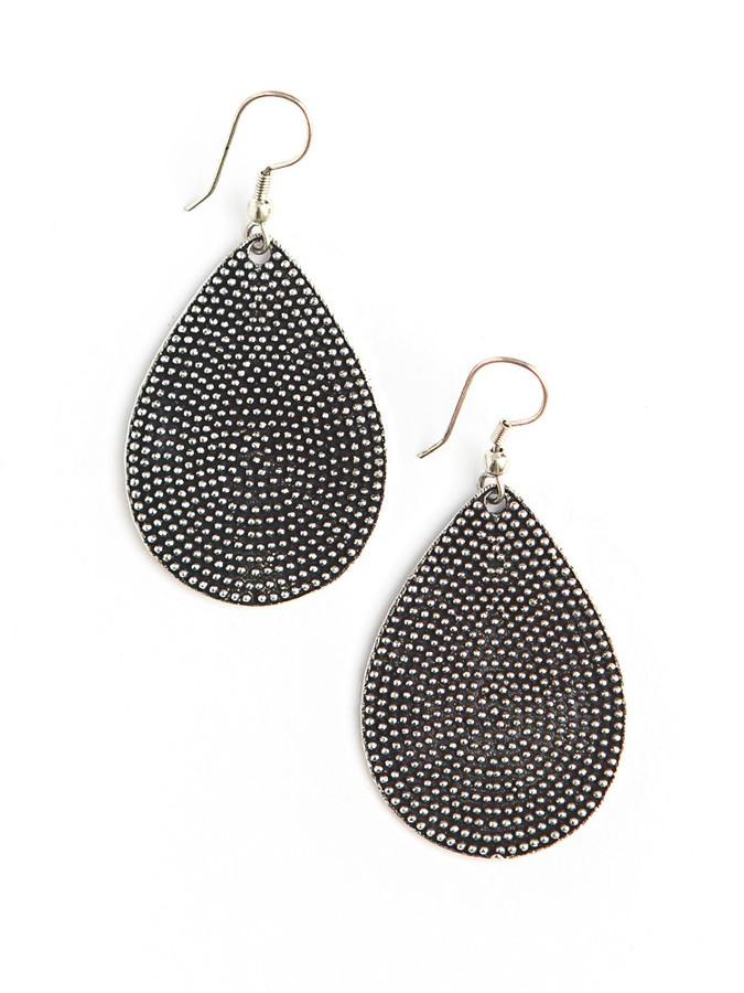 silver drop shape earrings | Fair Anita