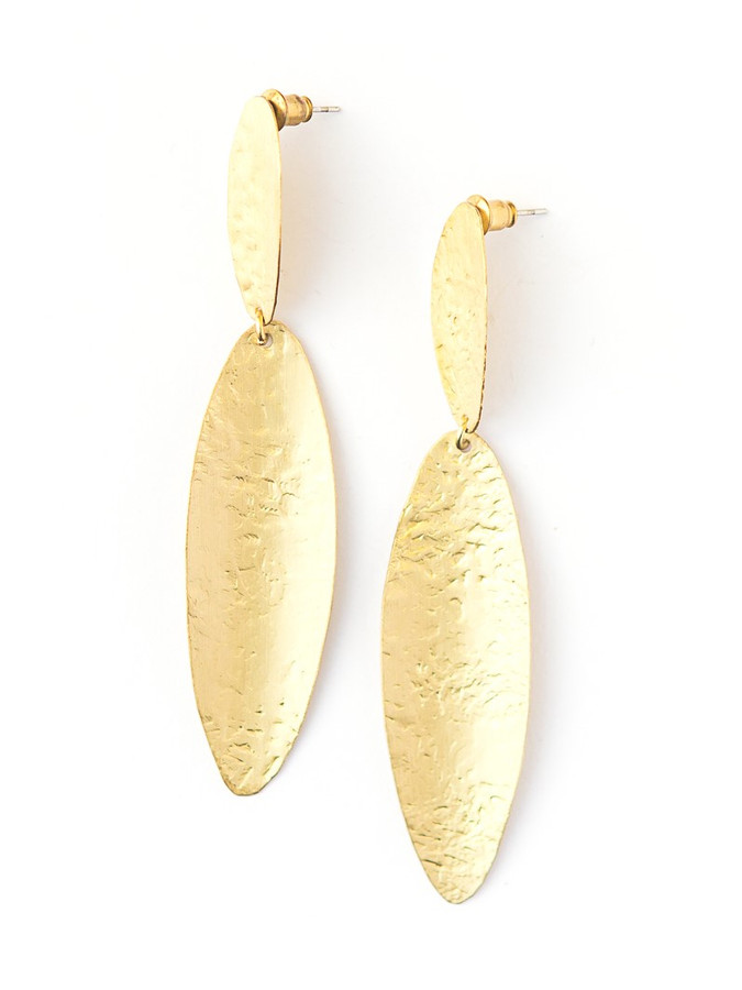Oblong Pebble Earrings - Brass