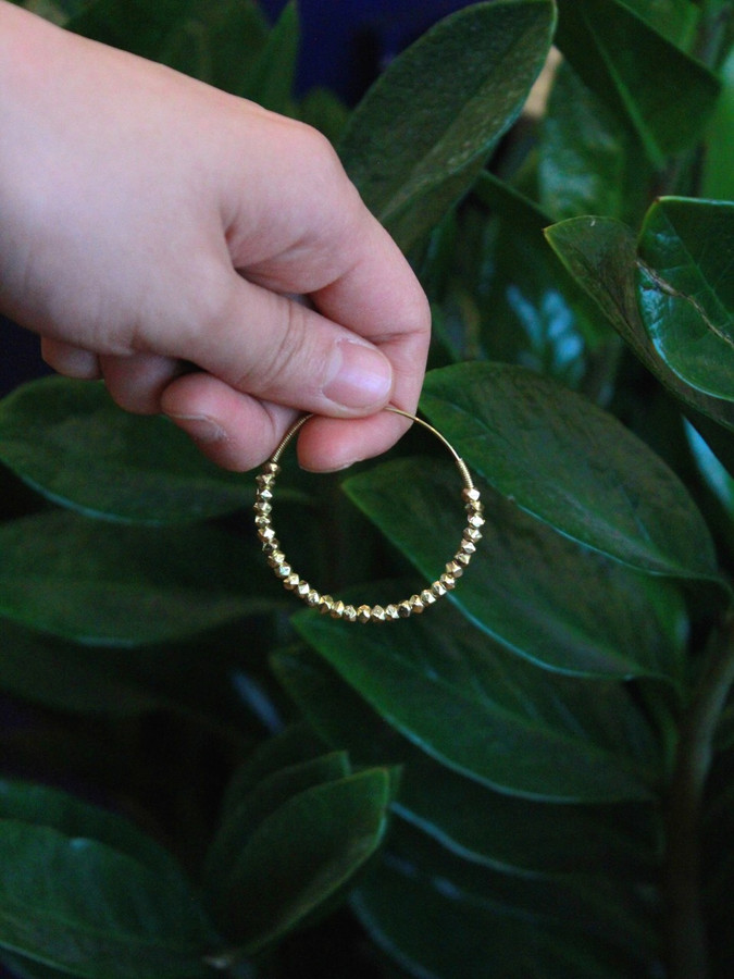 beaded hoop earrings brass | Fair Anita