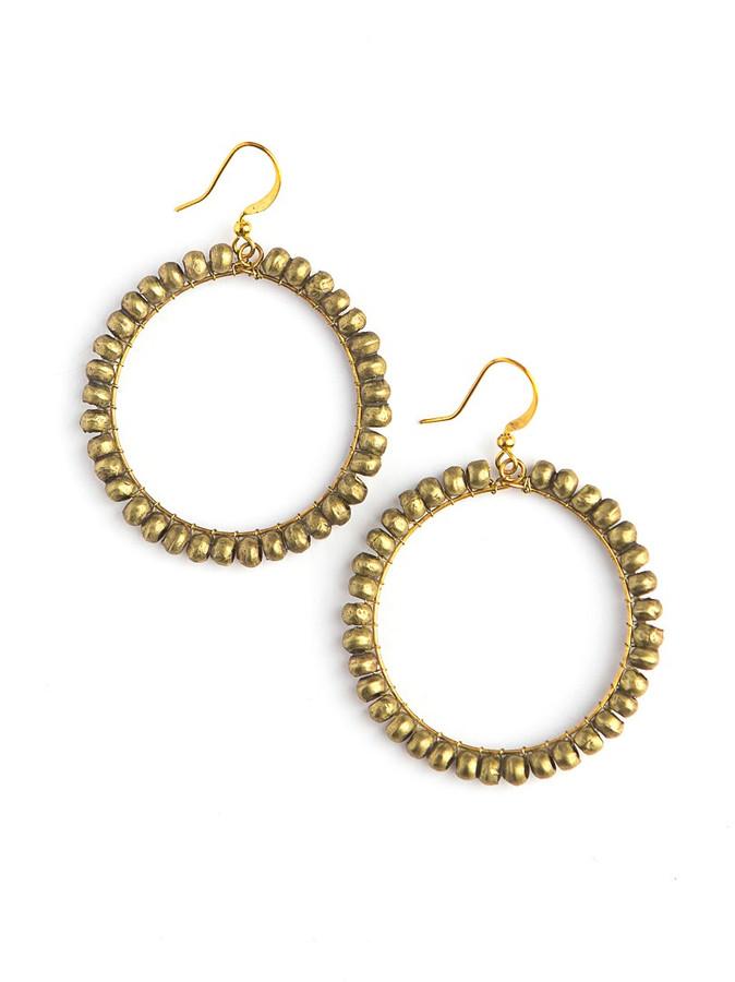 Artillery gold wrapped bead hoop earrings | Fair Anita