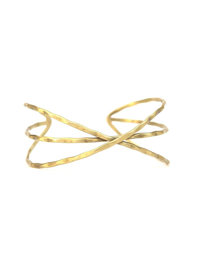 Hammered crisscross brass cuff | Fair Anita