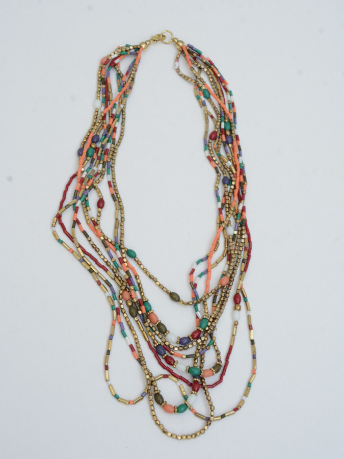 Multicolored pink red layered beaded necklace   Fair Anita