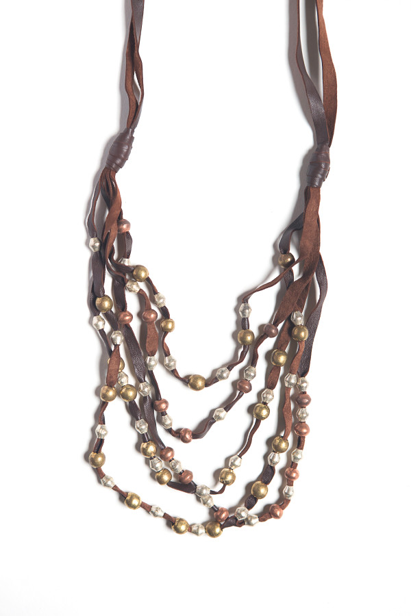 Lava Flow Leather and Artillery Necklace