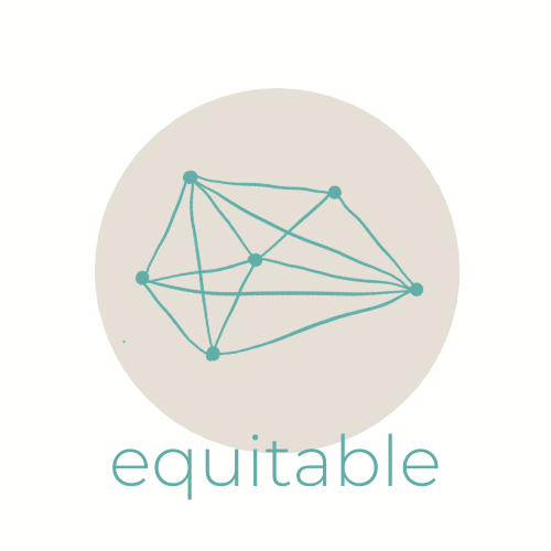 many lines connecting many dots, with the word 'equitable' underneath