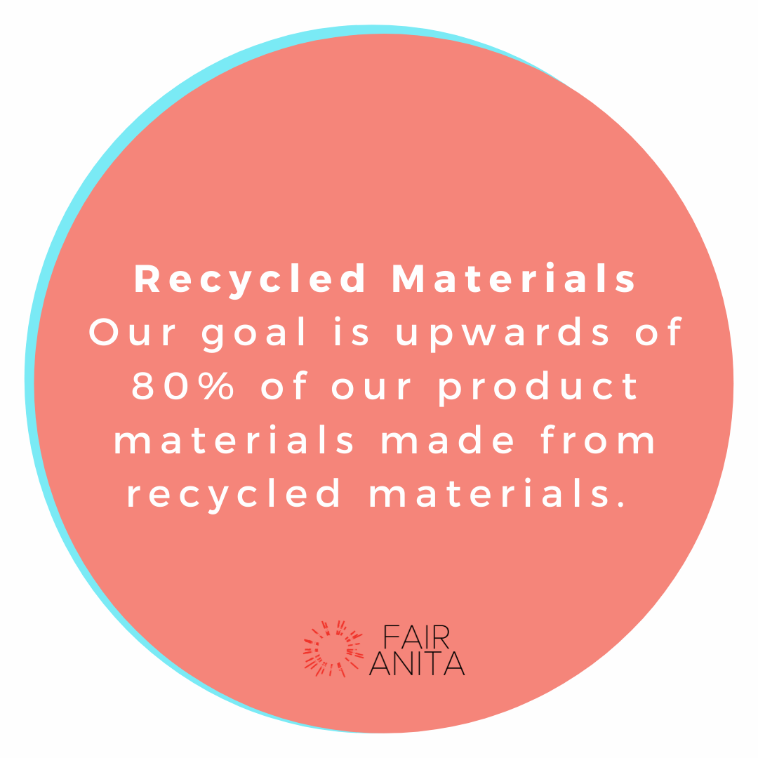 Circle with the words: Recycled Materials - our goal is upwards of 80% of our product materials made from recycled materials