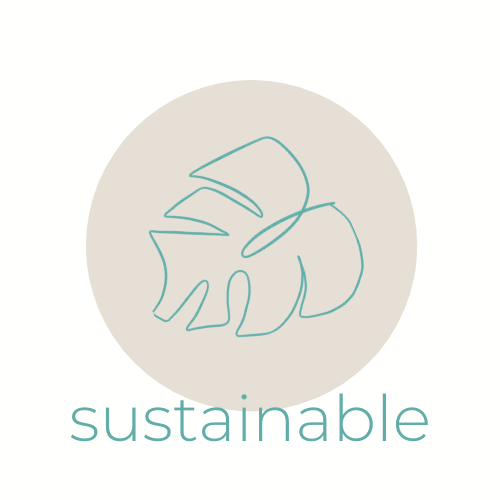 outline of a leaf, with the word 'sustainable' underneath