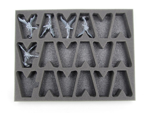 Models pictured are for size comparison only. They are the personal property of Battle Foam employees and are not included with the purchase of this tray. The fit of the models are not endorsed or affiliated with Games Workshop Limited in any way.