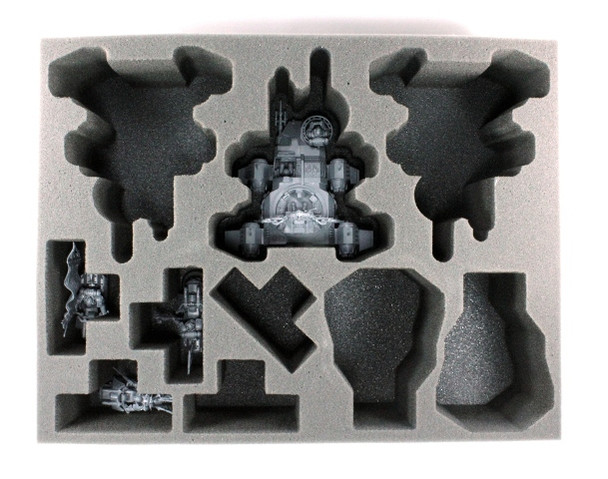 Models pictured are for size comparison only. They are the personal property of Battle Foam® employees and are not included with the purchase of this tray. The fit of the models are not endorsed or affiliated with Games Workshop in any way.