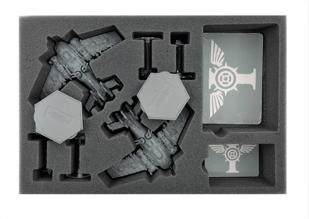 (Aeronautica Imperialis) Grot Bommers Foam Tray with Flight Stems Glued to Base Foam Tray (BFS-1.5)