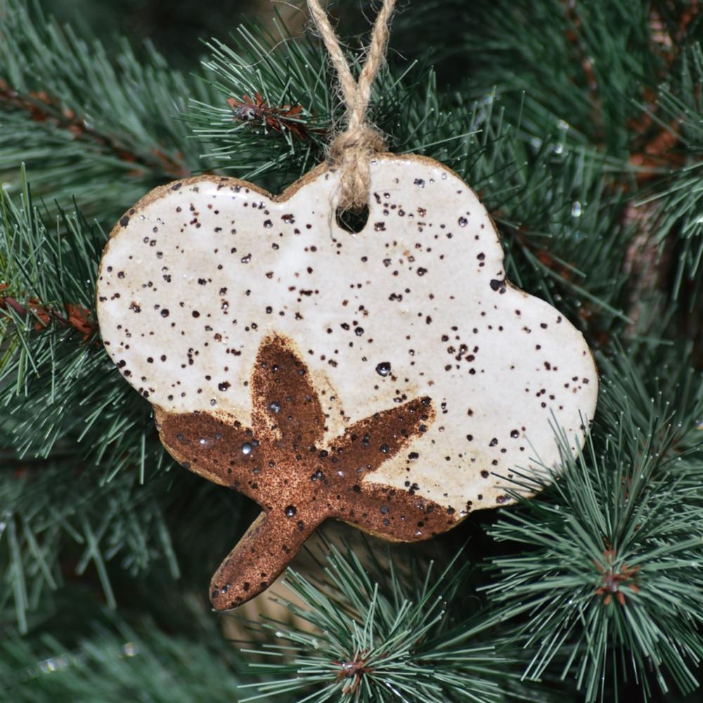 Pottery Cotton Boll Ornament