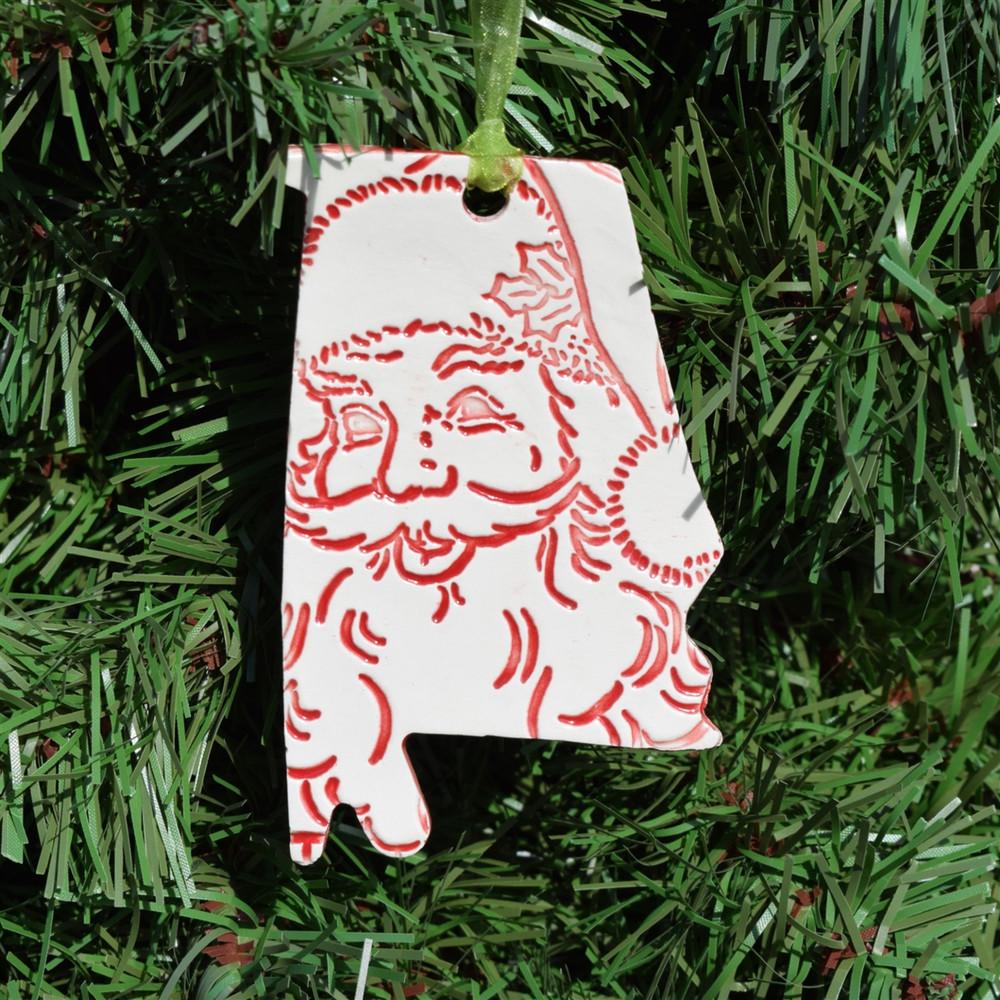 WhimSea Pottery Alabama Santa Ornament