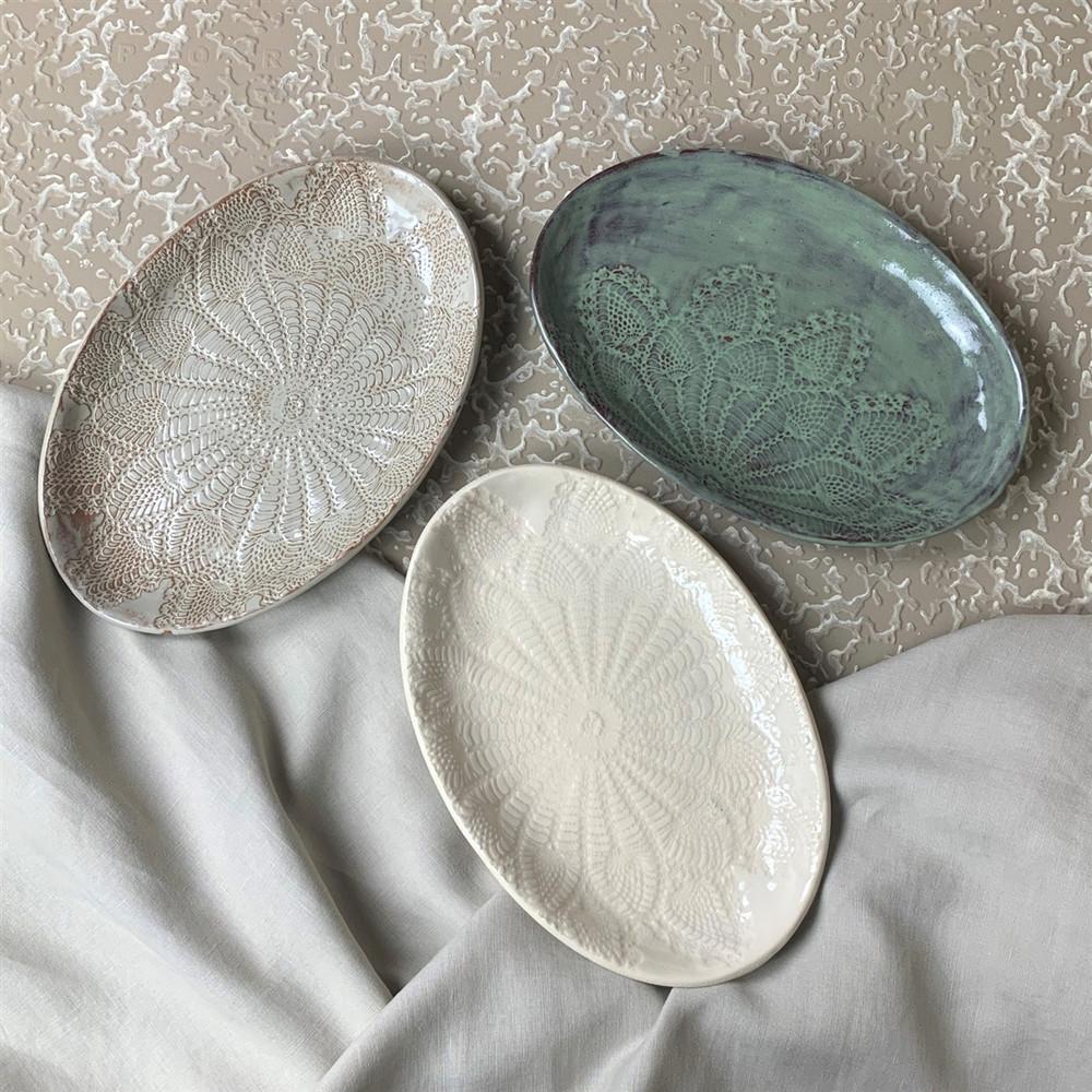 Prodigal Pottery Lace Tray, Oval
