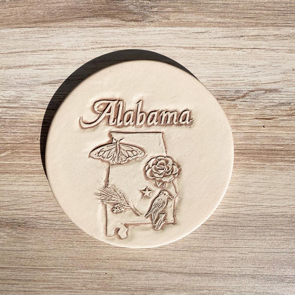 Alabama Symbol Clay Coaster