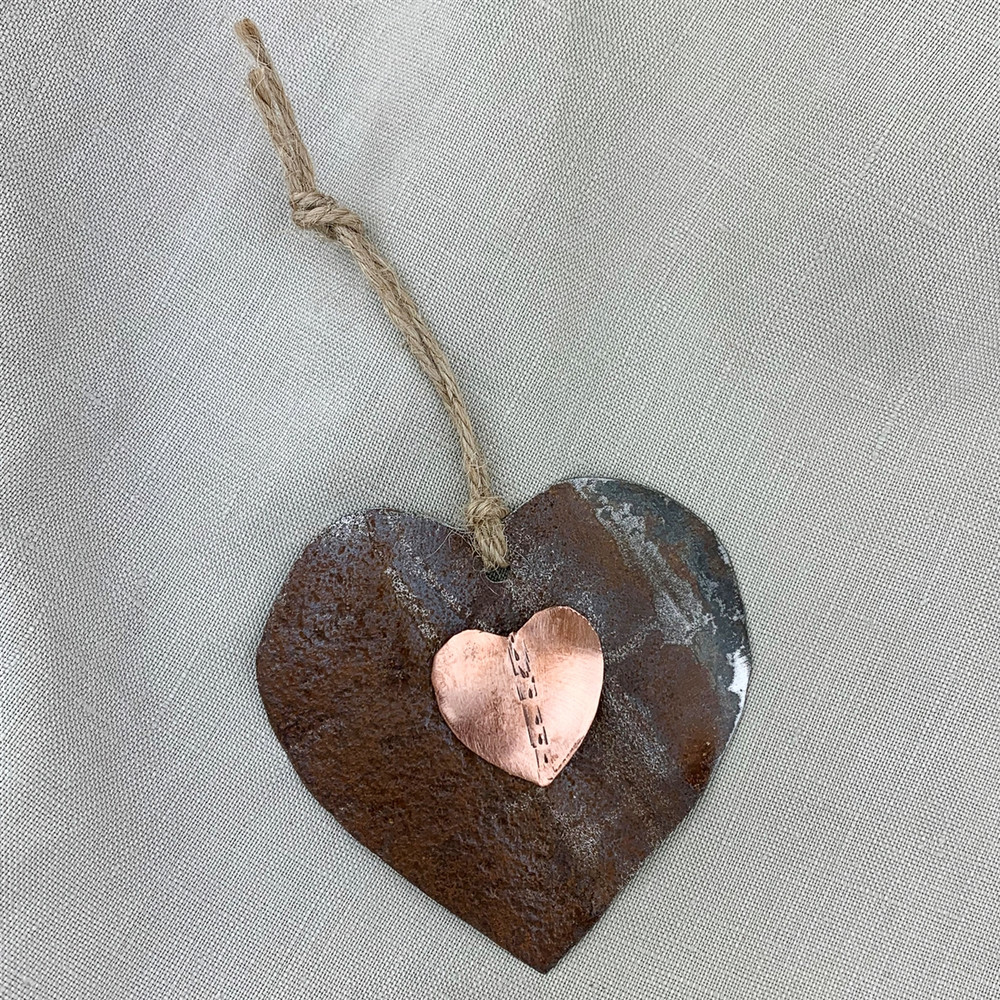 Copper & Tin Heart Ornament