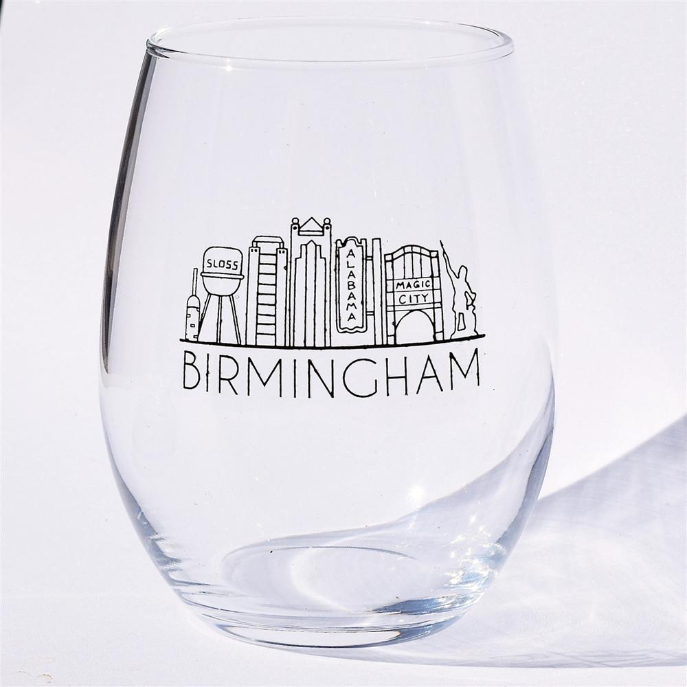 Birmingham Cityline Stemless Wine Glass