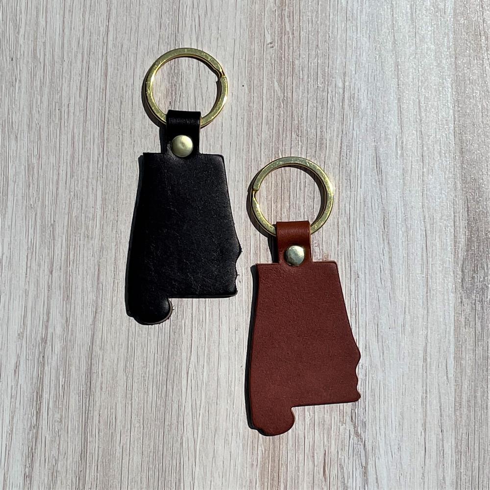 Leather Alabama Keychain