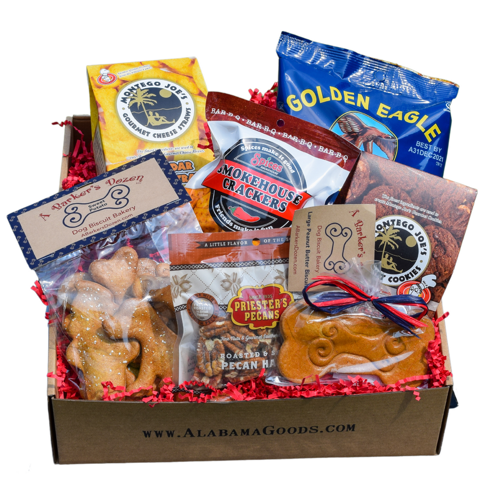 Gift box filled with made in Alabama treats for people and for dogs.