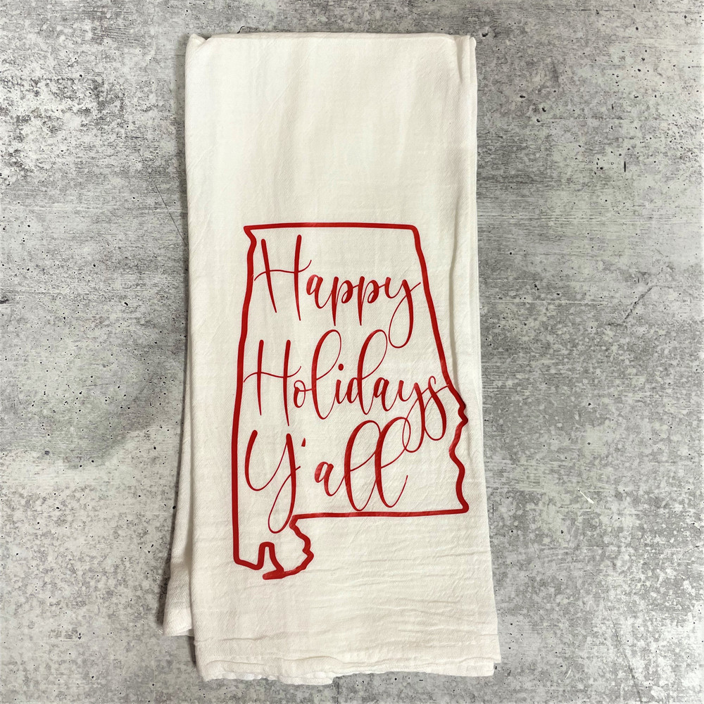 Happy Holidays Y'all Kitchen Towel