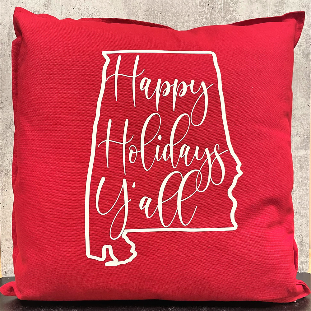 Happy Holidays Y'all Pillow