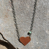 Copper & Sterling Heart Necklace