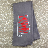 Grey Alabama Outline Towel