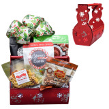 Christmas snowman tin filled with food and snacks all made in Alabama.