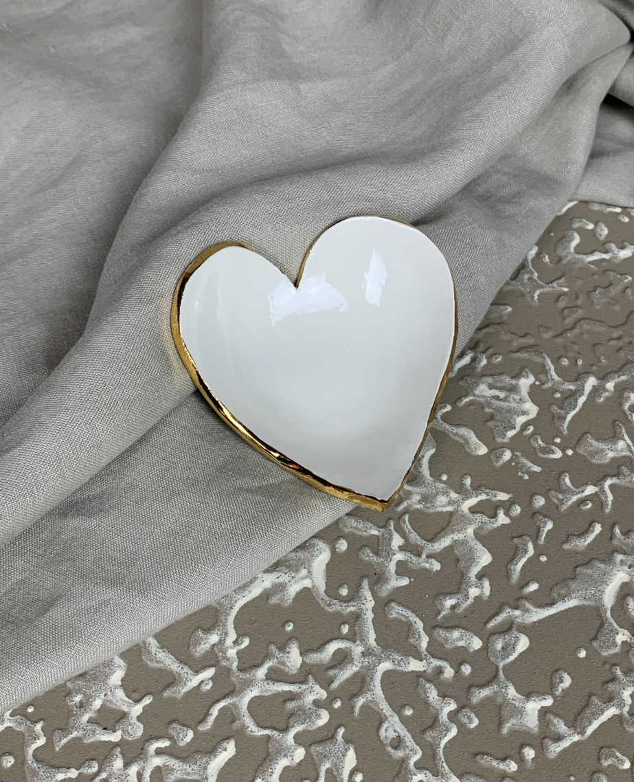 Heart and Square Round Gold Foil Trinket Dish