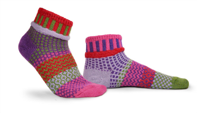 Hyacinth Solmate Ankle Socks are available at Novel Ideas in Decatur, Illinois