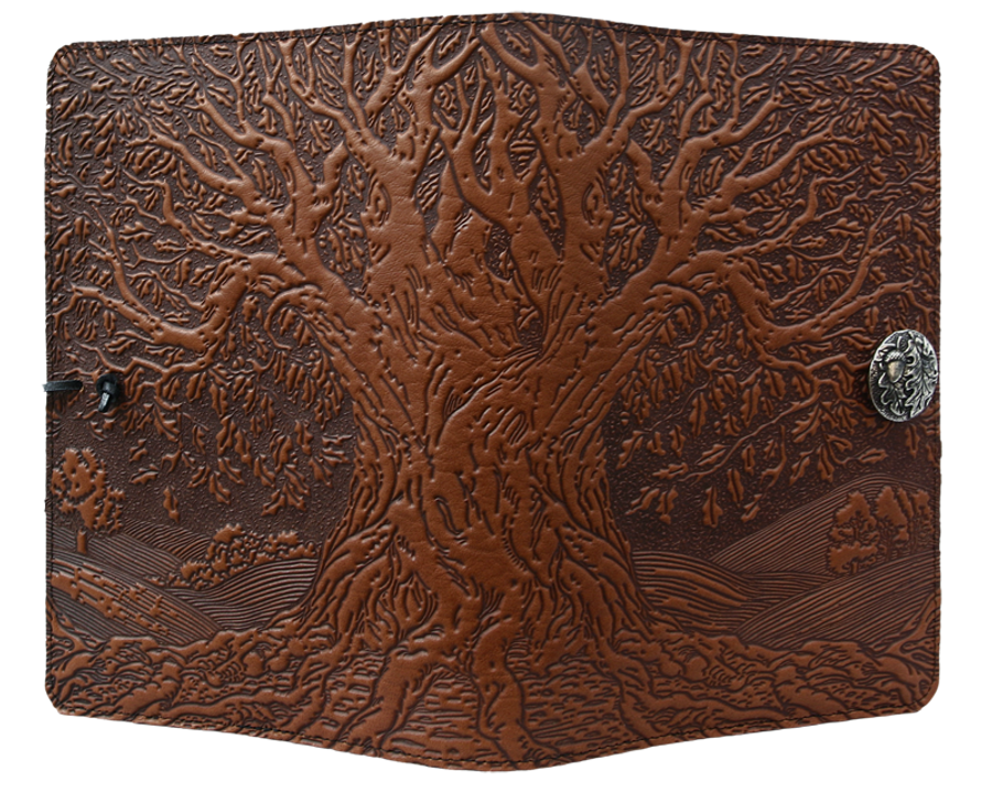 """Tree of Life"" in Saddle, Large Oberon Leather Journal"