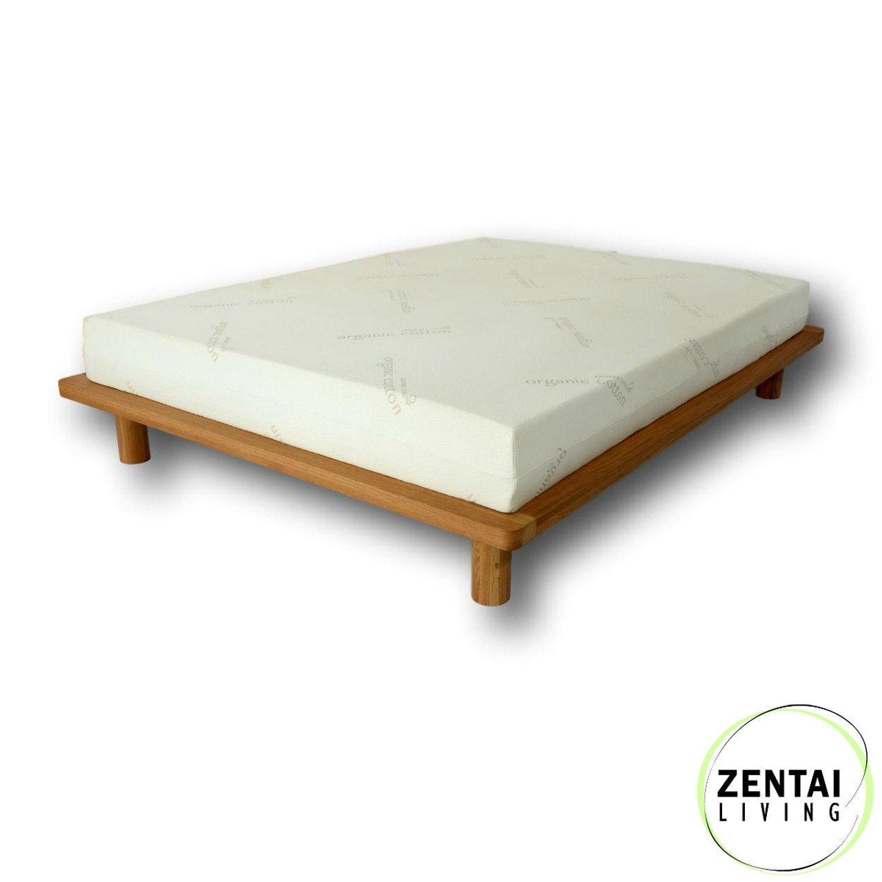 Platform Solid Wood Bed Frame In American Oak Zentai Living