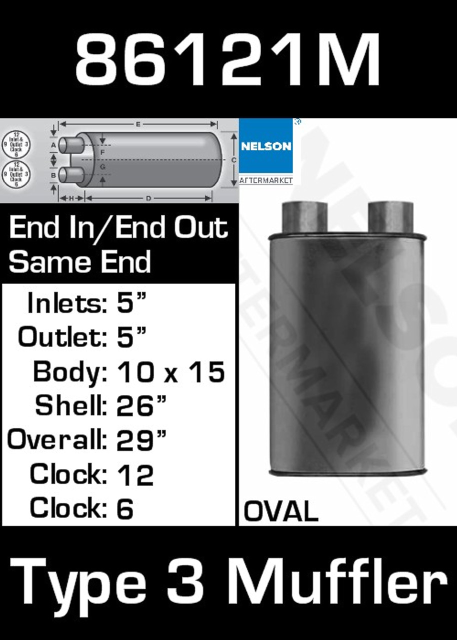 """86121M 10"""" x 15"""" Oval Muffler 26"""" Long with 5"""" IN-OUT TYPE 3"""