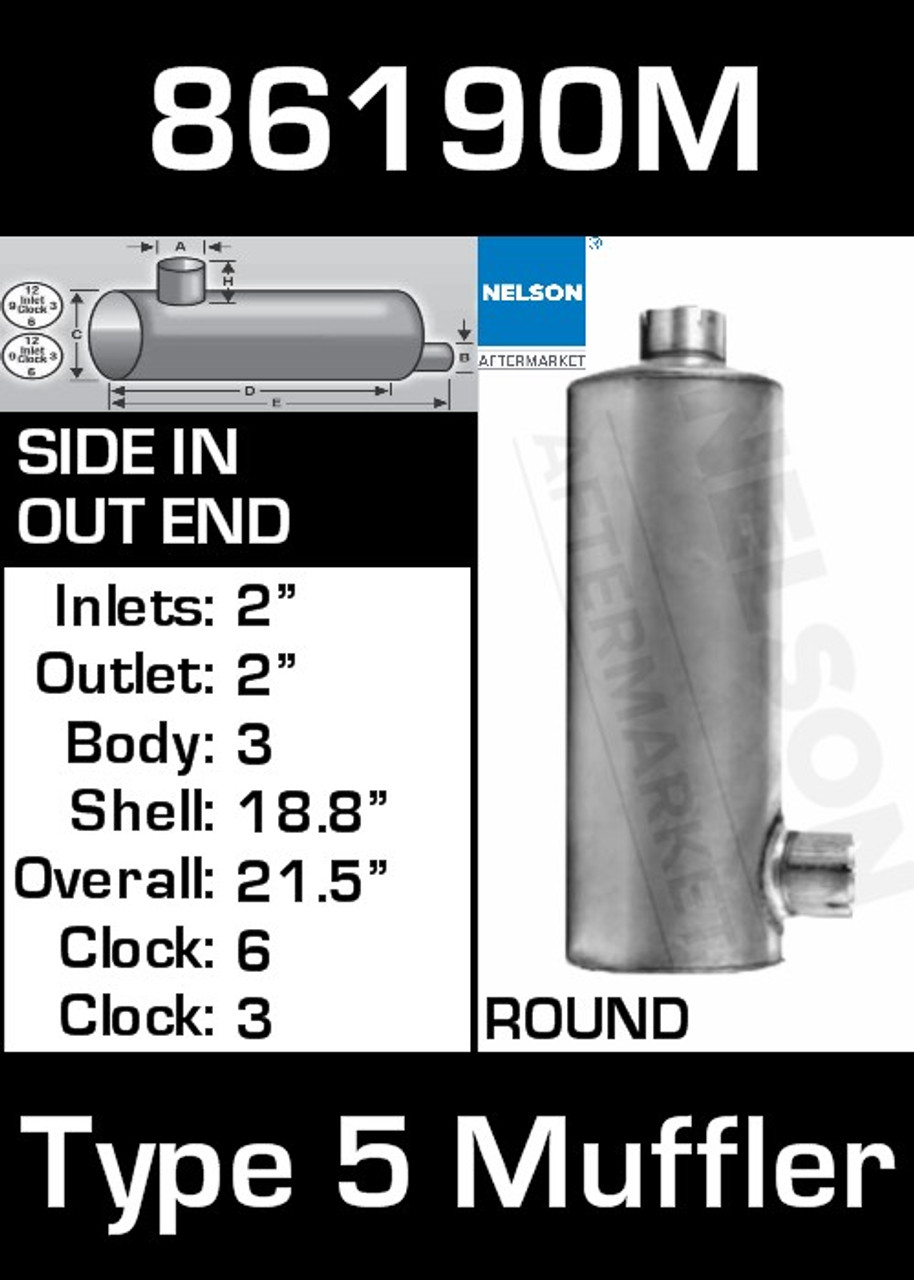 """86190M 6"""" Round Muffler 18.8"""" Long with 2"""" IN-OUT TYPE 5"""