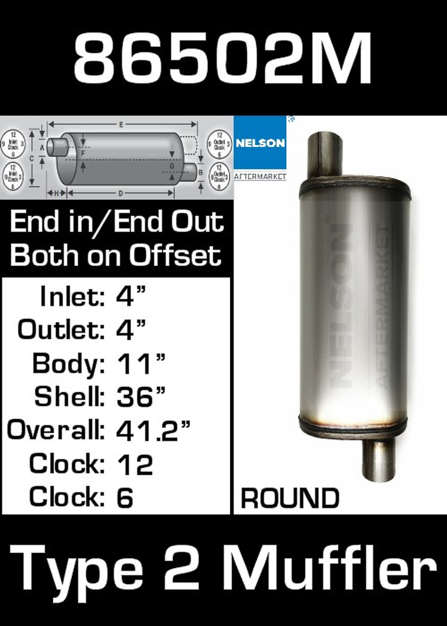 """86502M 11"""" Round Muffler 36"""" Long with 4"""" IN-OUT TYPE 2 BETTER"""