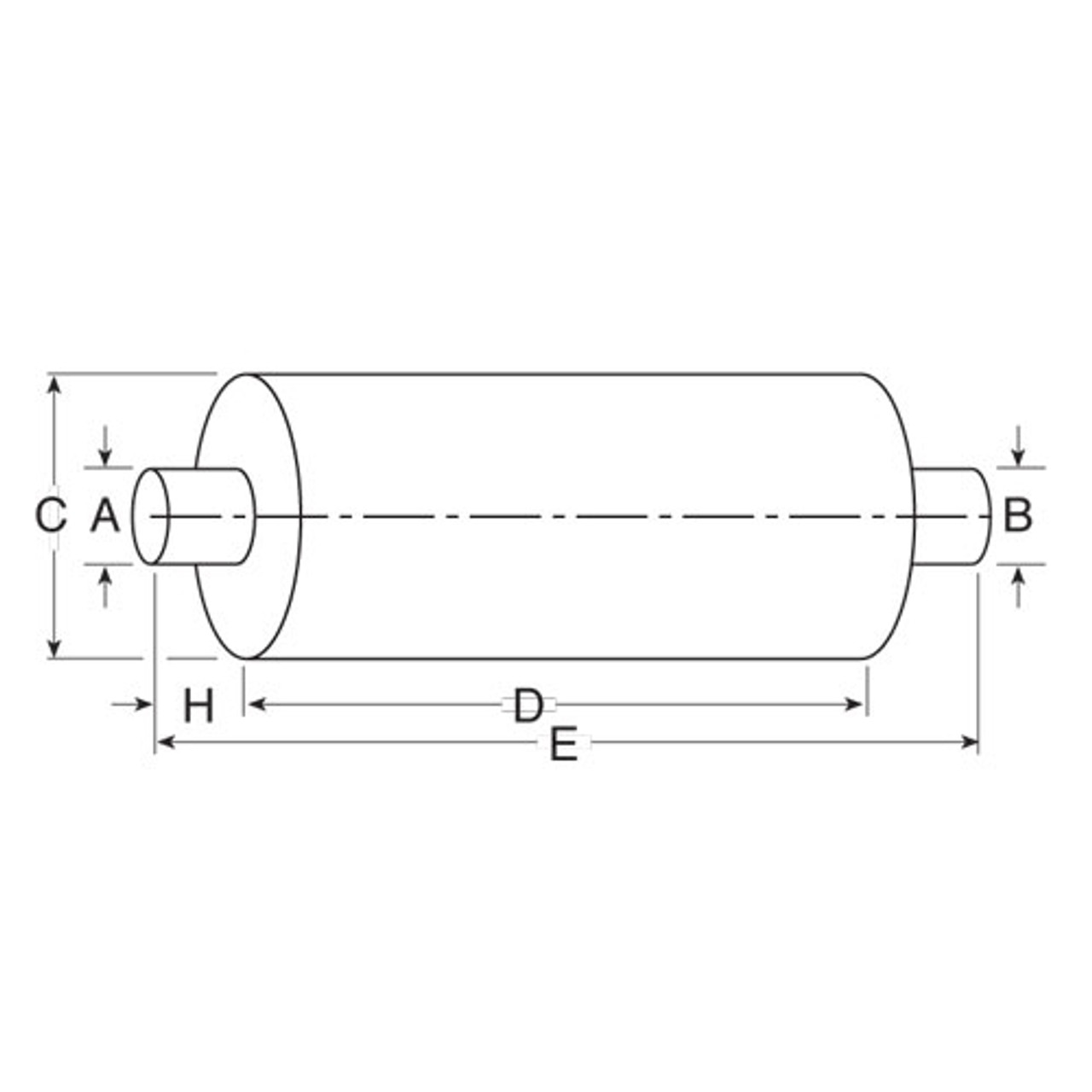"""86531M 10"""" Round Muffler 44"""" Long 5"""" IN-OUT TYPE 1 High Performance"""
